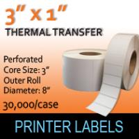 "Thermal Transfer Labels 3"" x 1"" Perf"