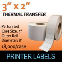 "Thermal Transfer Labels 3"" x 2"" Perf"