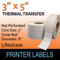 "Thermal Transfer Labels 3"" x 5"" Non Perf"