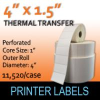 "Thermal Transfer Labels 4 x 1.5"" Perf"