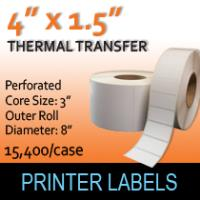 "Thermal Transfer Labels 4"" x 1.5"" Perf"