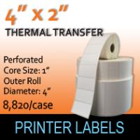 "Thermal Transfer Labels 4"" x 2"" Perf"