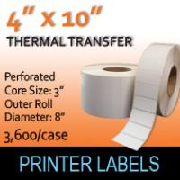 "Thermal Transfer Labels 4"" x 10"" Perf"