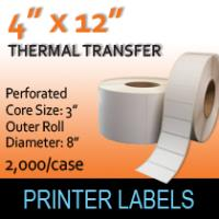 "Thermal Transfer Labels 4"" x 12"" Perf"