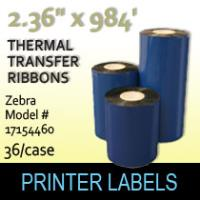 "Zebra 2.36"" x 984' Thermal Transfer Wax Ribbons"