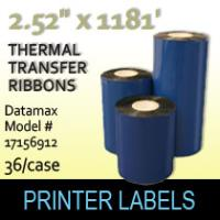 Datamax 2.52 x 1181' Thermal Transfer Wax Ribbons