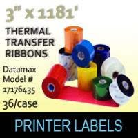 "Datamax 3"" x 1181' Thermal Transfer Wax Ribbons"