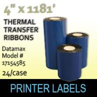 "Datamax 4.00"" x 1181' Thermal Transfer Wax Ribbons"