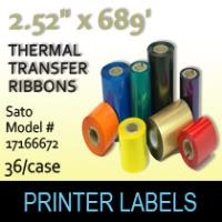 "Sato 2.52"" x 689' Thermal Transfer Wax Ribbons"