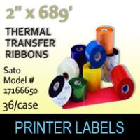 "Sato 2"" x 689'Thermal Transfer Wax Ribbons"