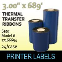 "Sato 3.00"" x 689' Thermal Transfer Wax Ribbons"