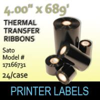"Sato 4.00"" x689 ' Thermal Transfer Wax Ribbons"