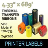 "Sato 4.33"" x 689' Thermal Transfer Wax Ribbons"