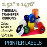 "Zebra 2.52"" x 1476' Thermal Transfer Wax Ribbons"