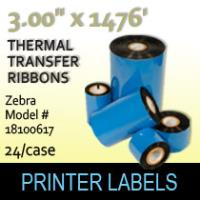 "Zebra 3.00"" x 1476' Thermal Transfer Wax Ribbons"