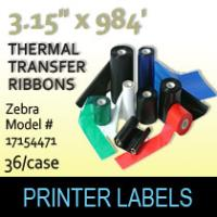 "Zebra 3.15"" x 984' Thermal Transfer Wax Ribbons"