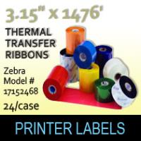 "Zebra 3.15"" x 1476' Thermal Transfer Wax Ribbons"