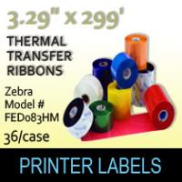 "Zebra 3.29"" x 299' Thermal Transfer Wax Ribbons"