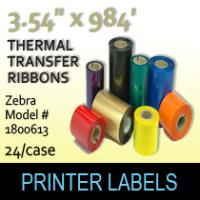 "Zebra 3.54"" x 984' Thermal Transfer Wax Ribbons"