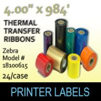"Zebra 4.00"" x 984' Thermal Transfer Wax Ribbons"