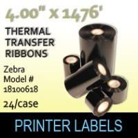 "Zebra 4.00"" x 1476' Thermal Transfer Wax Ribbons"