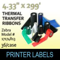 "Zebra 4.33"" x 299' Thermal Transfer Wax Ribbons"