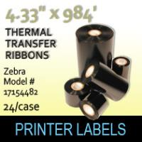 "Zebra 4.33"" x 984' Thermal Transfer Wax Ribbons"