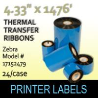 "Zebra 4.33"" x 1476' Thermal Transfer Wax Ribbons"