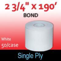 "Single Ply White Bond Roll - 2 3/4"" x 190'"
