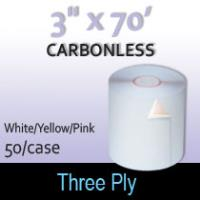 "3-Ply White/Yellow/Pink  Roll - 3"" x 70'"