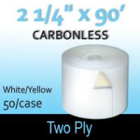 "2-Ply White/Yellow Roll - 2 1/4"" x 90'"