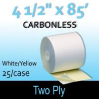 "2-Ply White/Yellow Roll - 4 1/2"" x 85'"