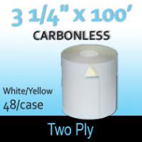 """2-Ply White/Yellow Roll - 3 1/4"""" x 90''"""