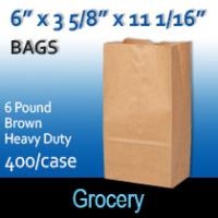 6# Brown Heavy Duty Bags (6 x 3 5/8 x 11 1/16)