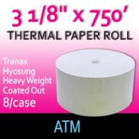 "Tranax-Hyosung Paper- 3 1/8"" x 750'-Coated Side Out"